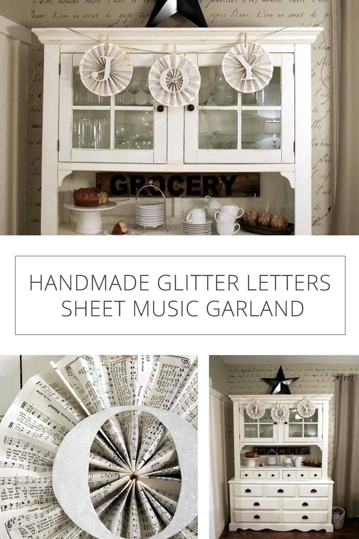 Handmade Glitter Letters Sheet Music Garland