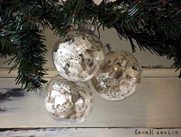 Vintage Sheet Music Ball Ornaments