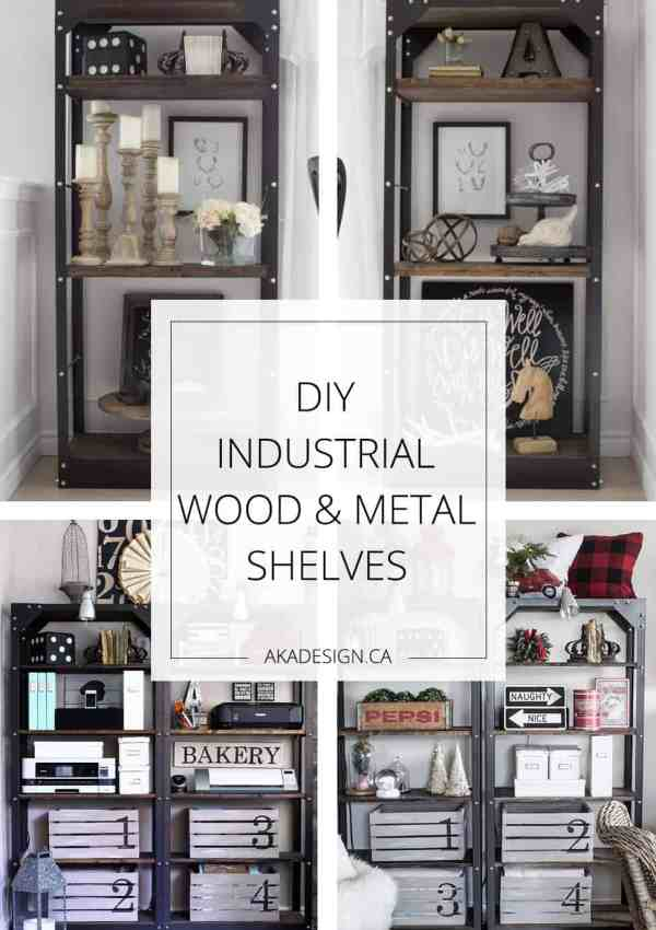 DIY Industrial Wood and Metal Shelves