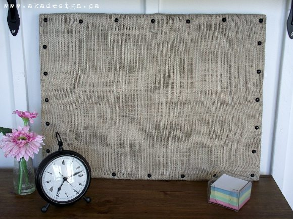 burlap bulletin board with nailhead trim