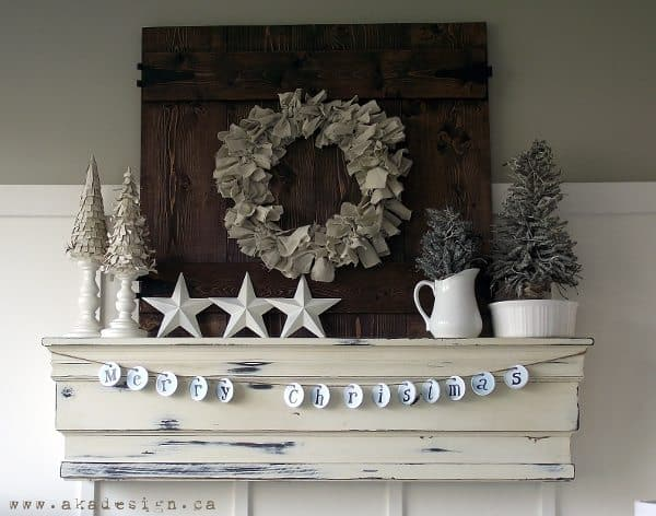 merry christmas garland on mantle