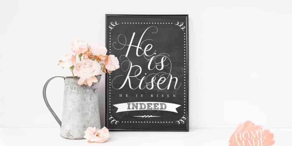 Free easter printable, chalkboard style, saying He is Risen, He is Risen Indeed