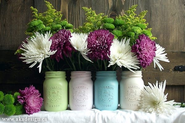 pastel painted mason jars