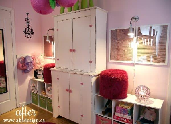 girls room poufs shelves