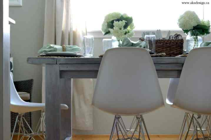 aka design farmhouse table eiffel look chairs