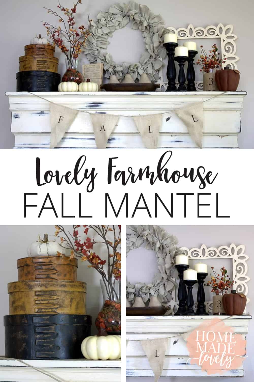 lovely farmhouse fall mantel pin