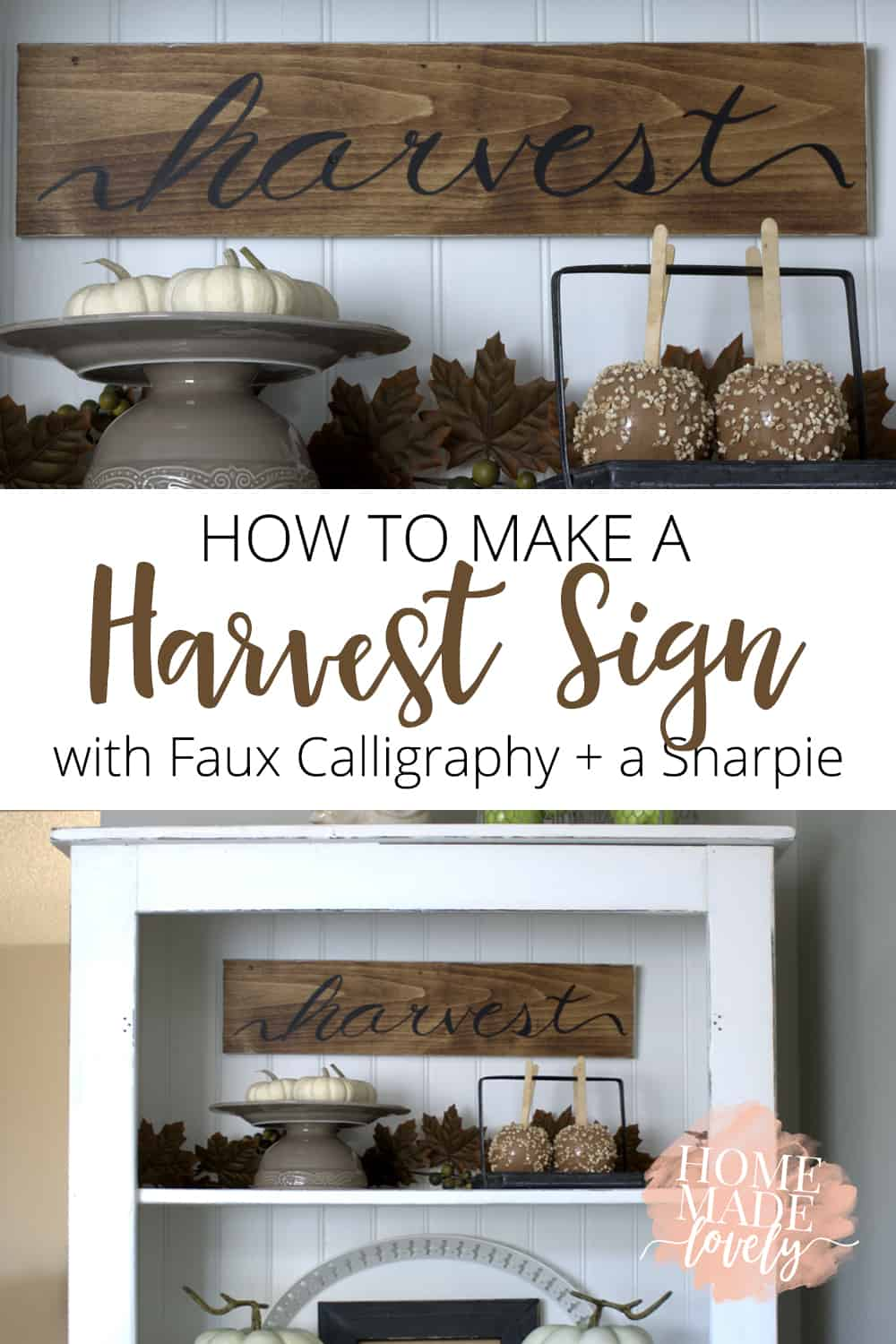 Harvest Sign On Barnwood For Fall Front Porch Decor: How To Make A Harvest Sign With Faux Calligraphy + A Sharpie