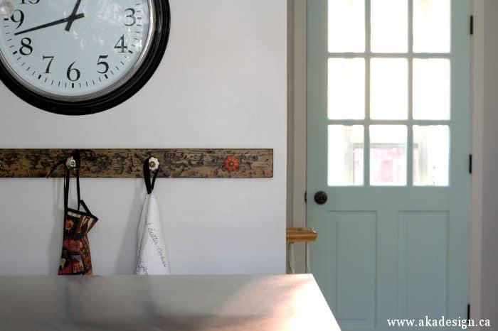 distressed knob hooks recipe tea towel