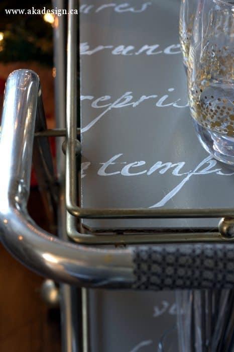 bar cart script shelf detail