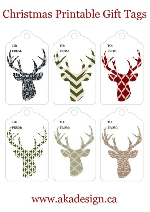 deer head silhouette gift tags smaller for blog