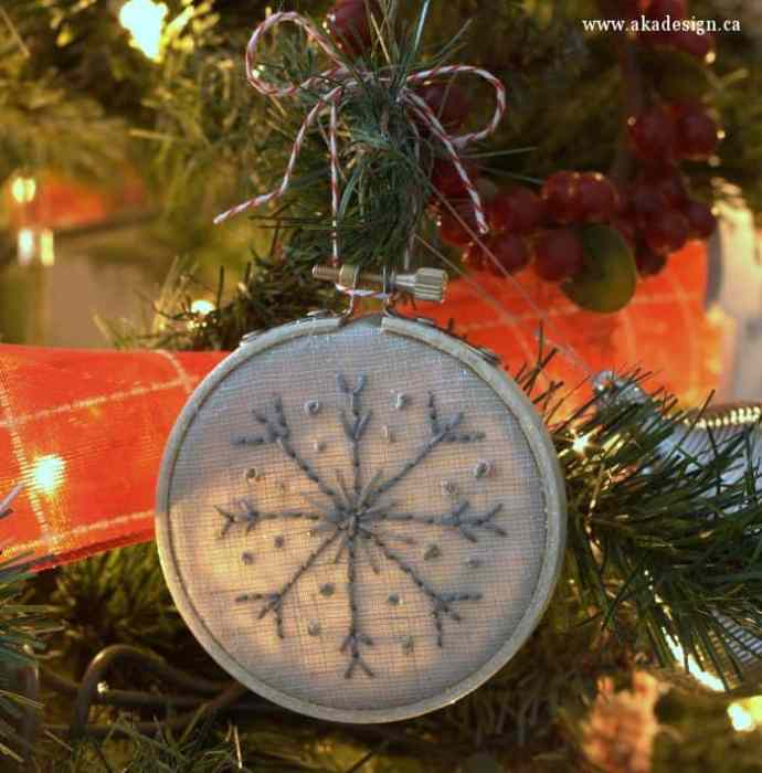 snowflake ornament in tree