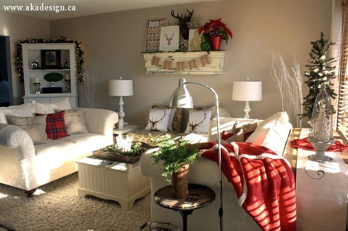 traditional red and cream christmas living room