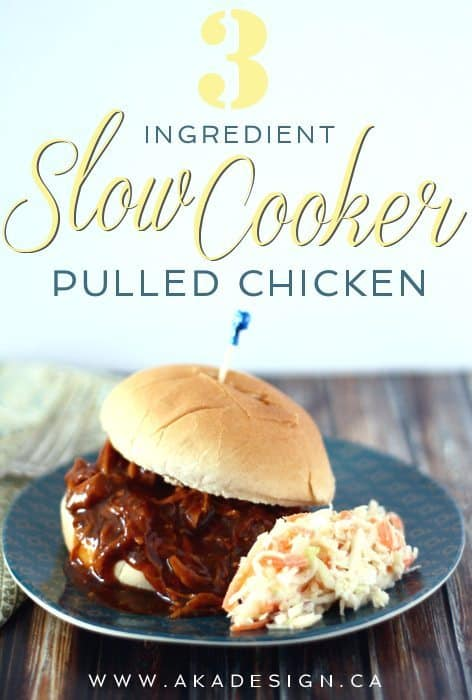 three ingredient slow cooker pulled chicken