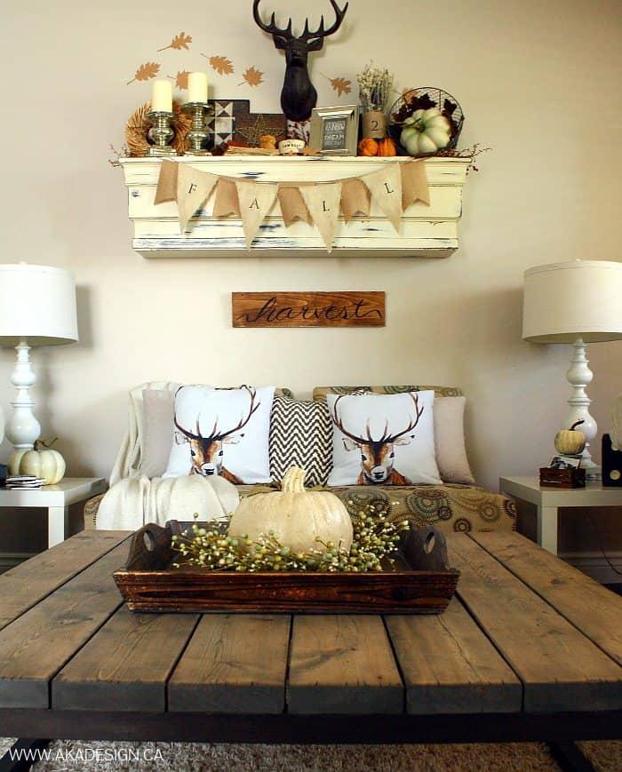 autumn living room rustic chic