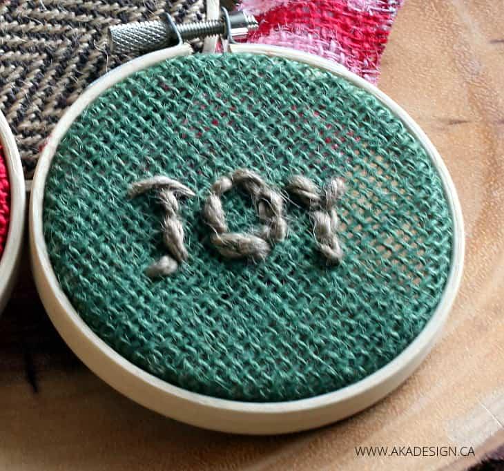 GREEN BURLAP JOY HOOP ART ORNAMENT