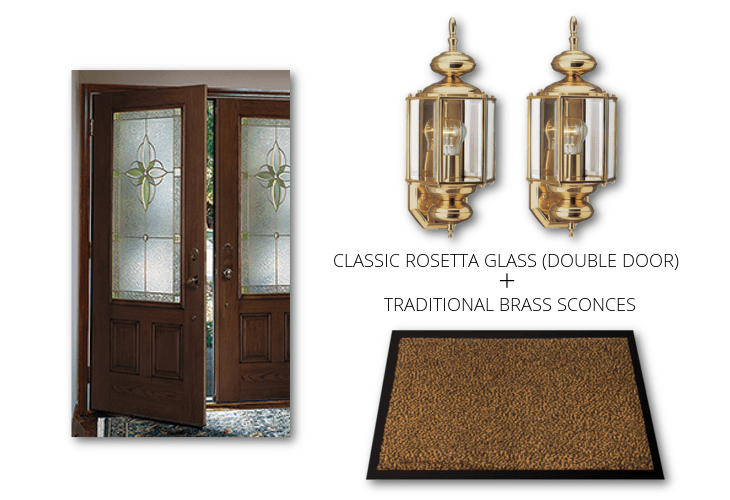ROSETTA DOUBLE DOOR BRASS SCONCES