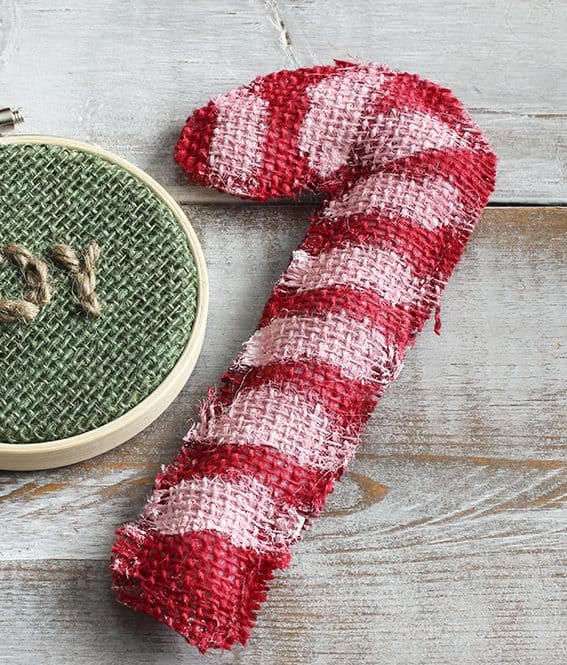 Red Burlap No-Sew Candy Cane Craft – Bowl Fillers or Ornaments