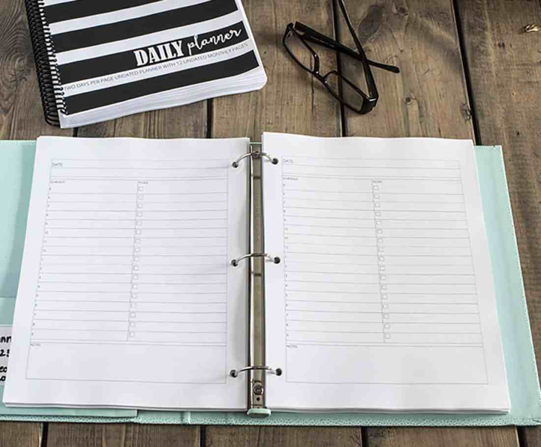 free printable planner daily page
