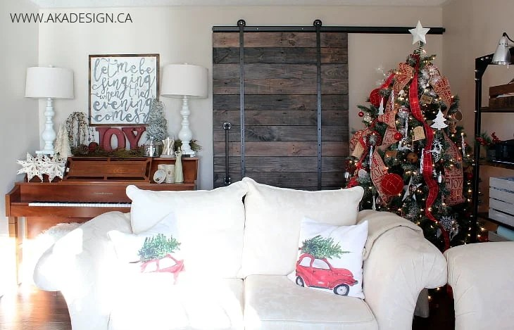 PIANO BARN DOOR WHITE COUCH HAND PAINTED CANVAS