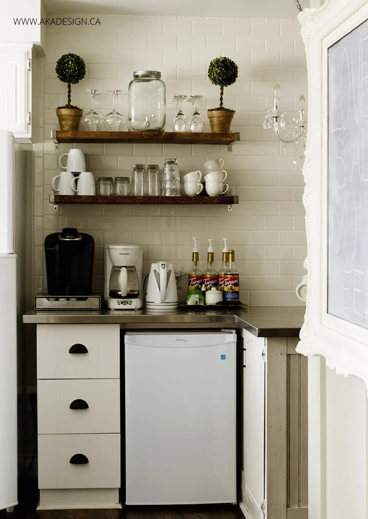 Subway Tile Wall Rustic Coffee Bar Kitchen