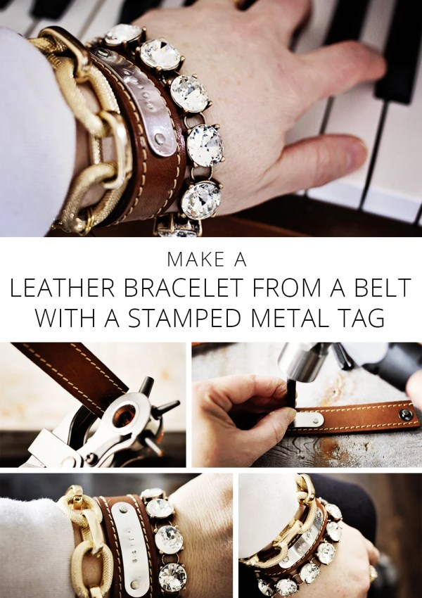 Make a LEATHER BRACELET FROM A BELT + STAMPED METAL TAG