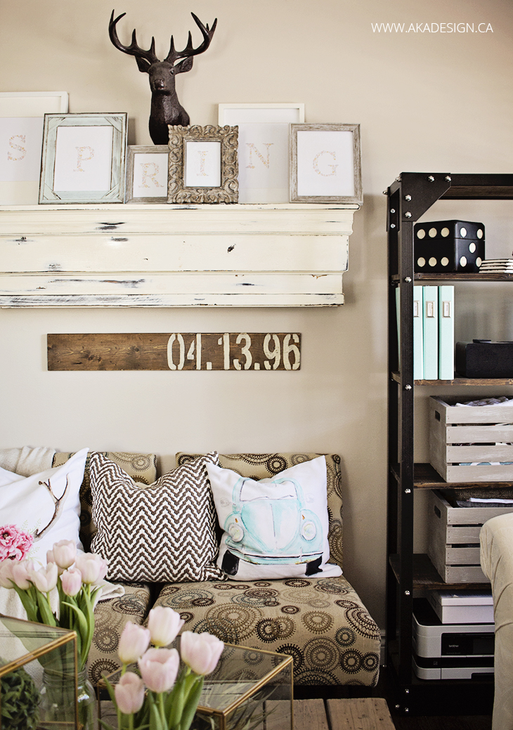 thick chunky mantel shelf decorating with SPRING as individually framed letters