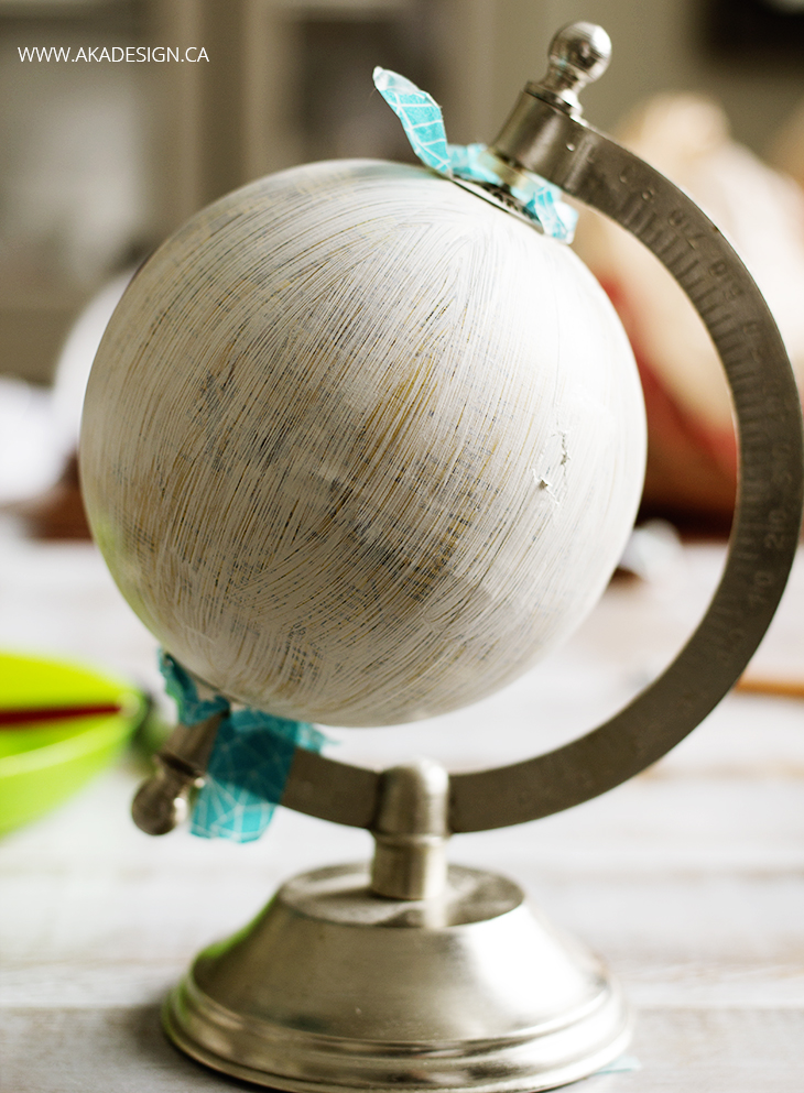 diy hand painted globe first coat