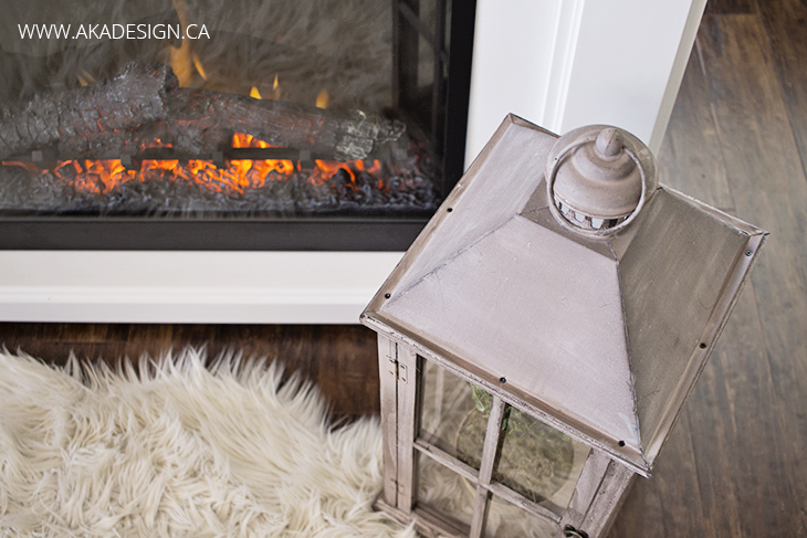 lantern top fireplace sheepskin rug