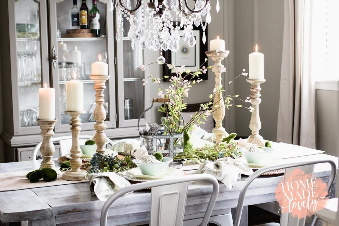 spring decorated dining room