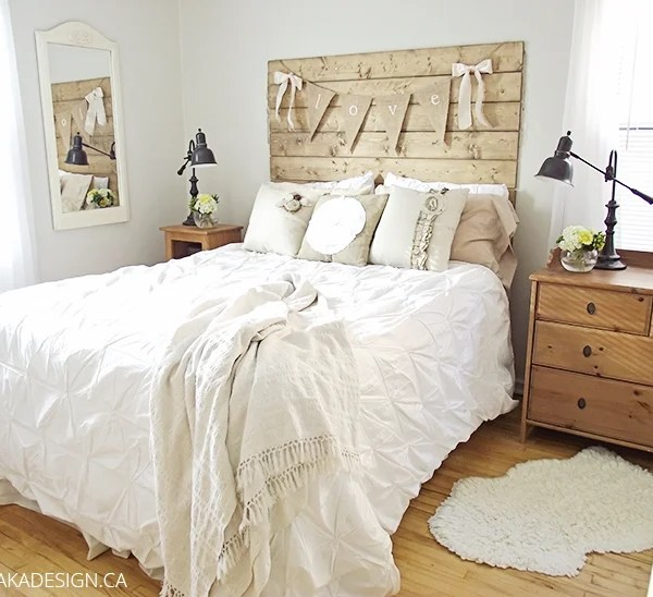 aka design bungalow master bedroom wood headboard