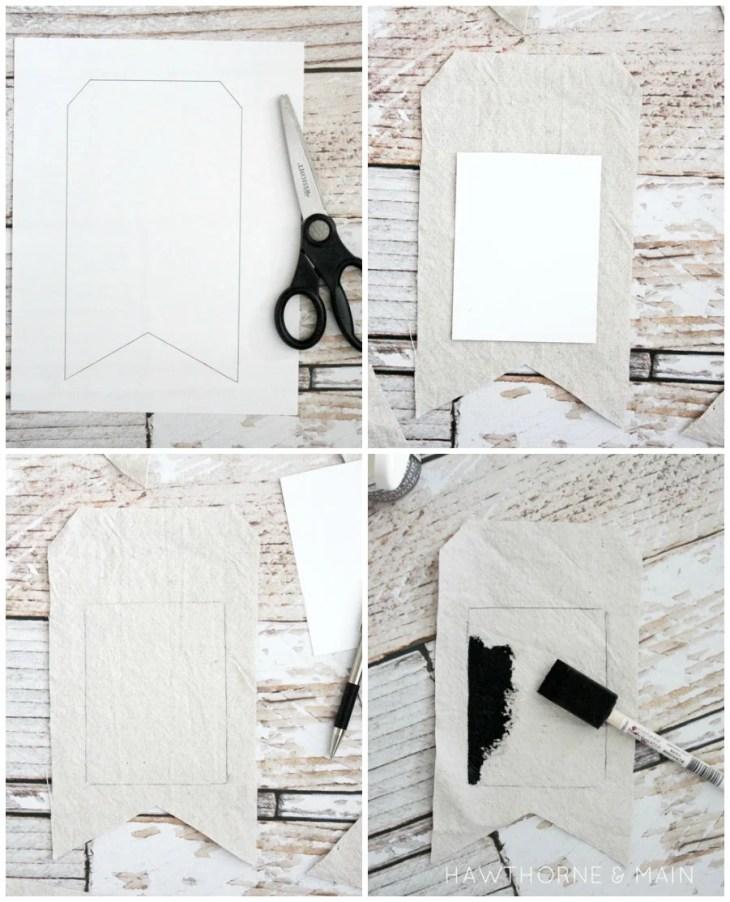 Chalk board banner process collage