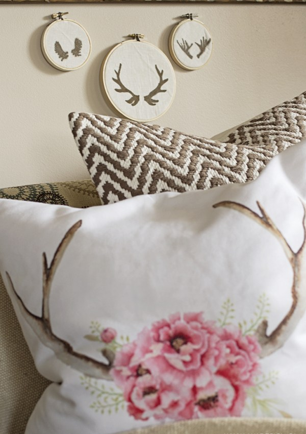 Quick Antler Embroidery Hoop Art