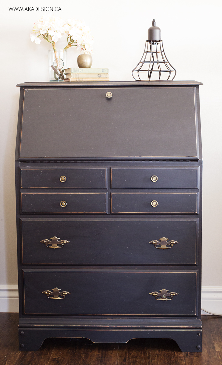 PAINTED-BLACK-SECRETARY-DESK