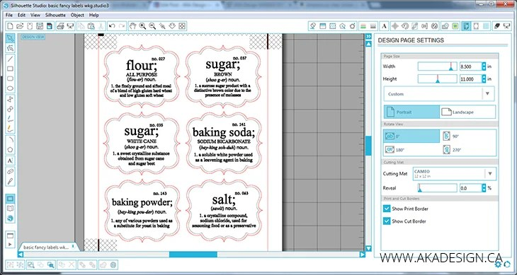 Silhouette Fancy Pantry Labels in Studio