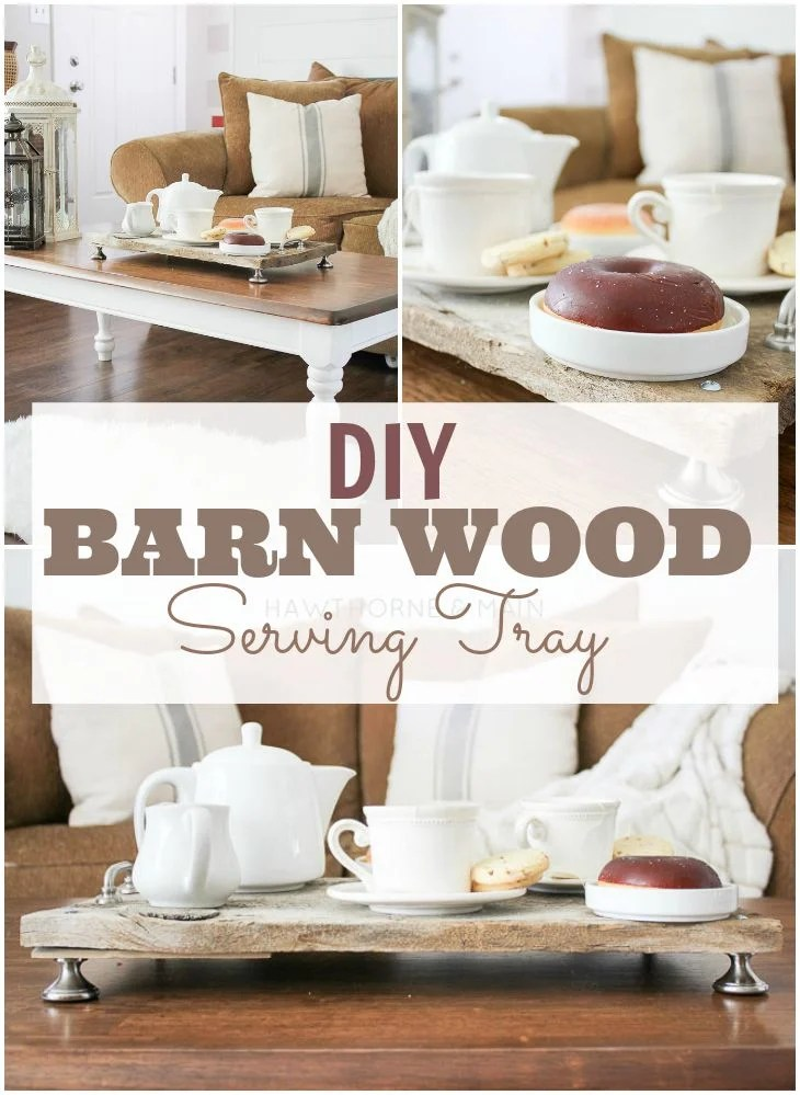 barn wood serving tray on table with desserts for guests