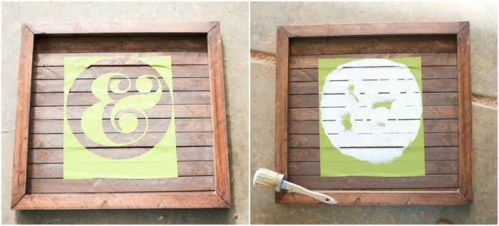 wood slat sign with ampersand painted on it 26