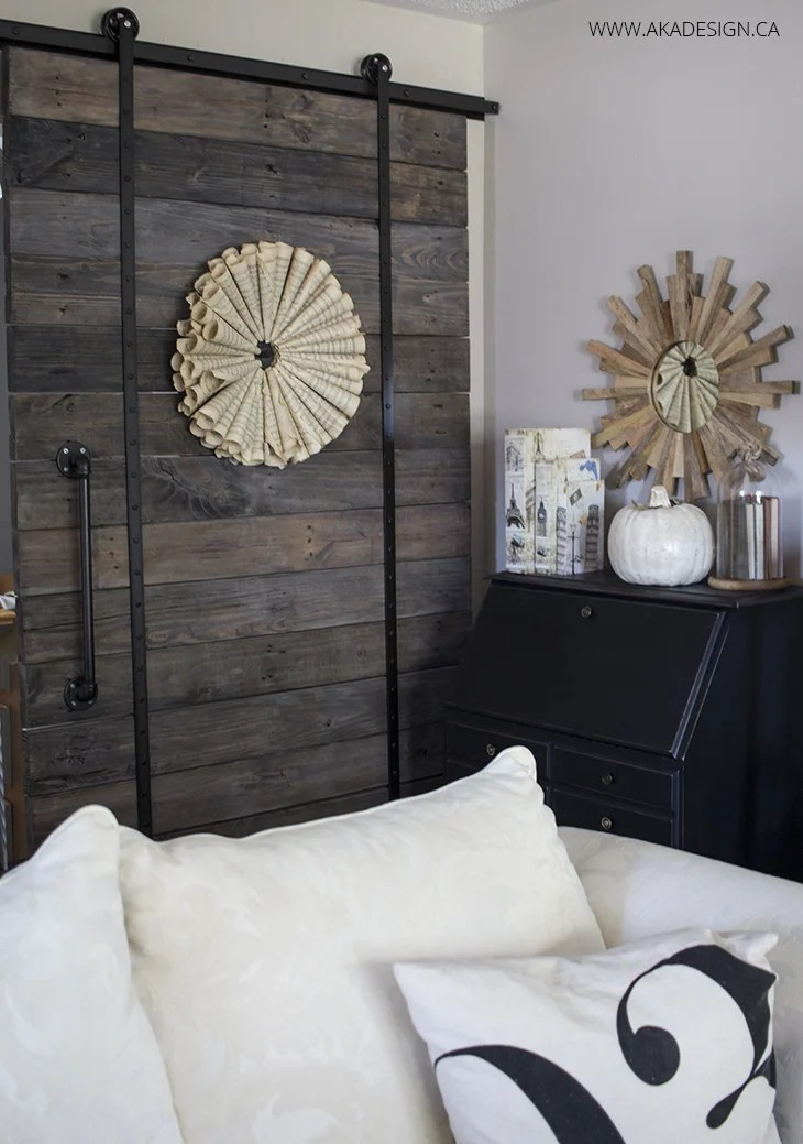 Home Made Lovely neutral fall barn door corner