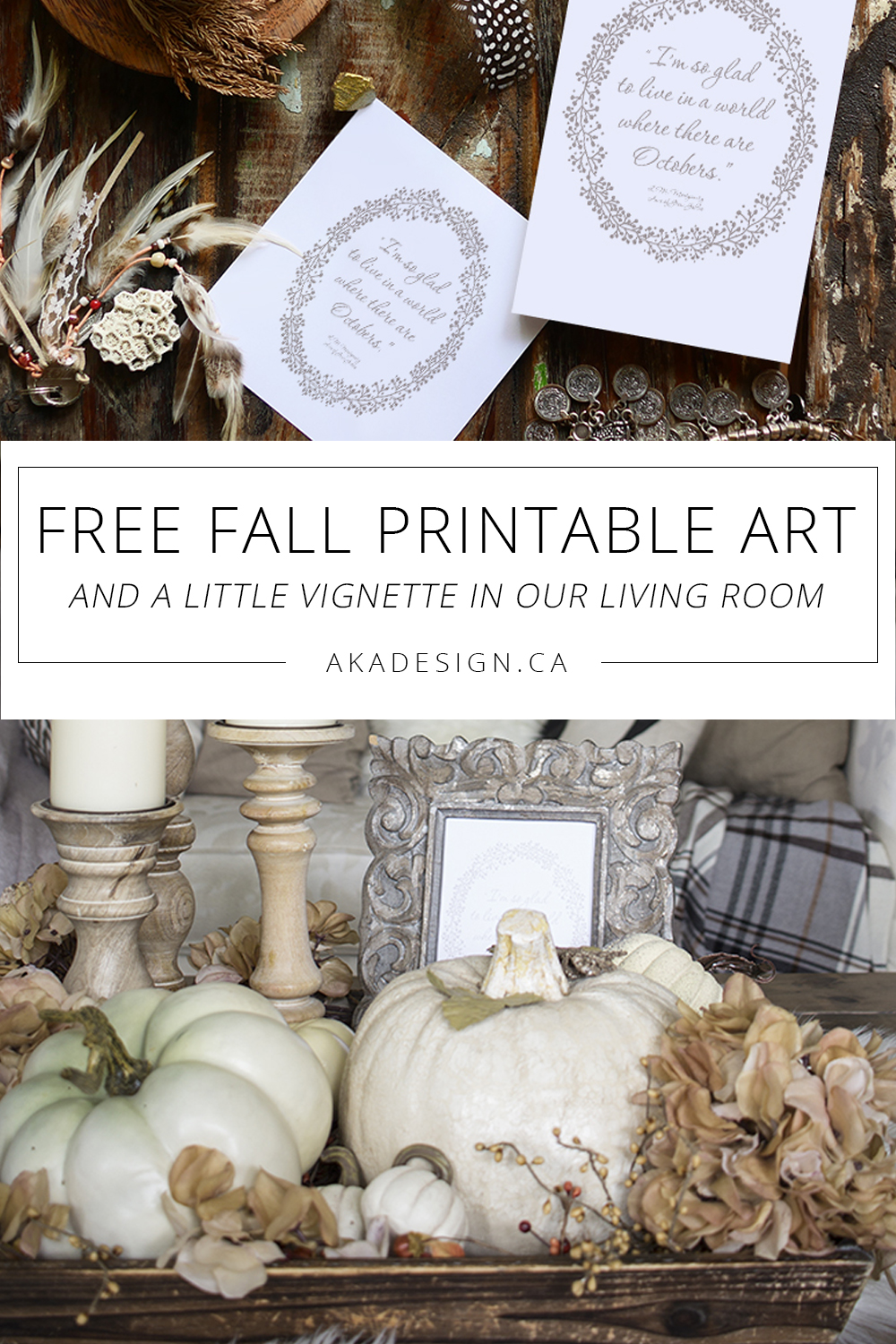 Free Fall Printable Art and a Little Vignette in Our Living Room