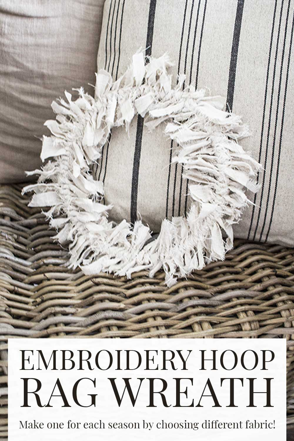 beige rag wreath propped on chair