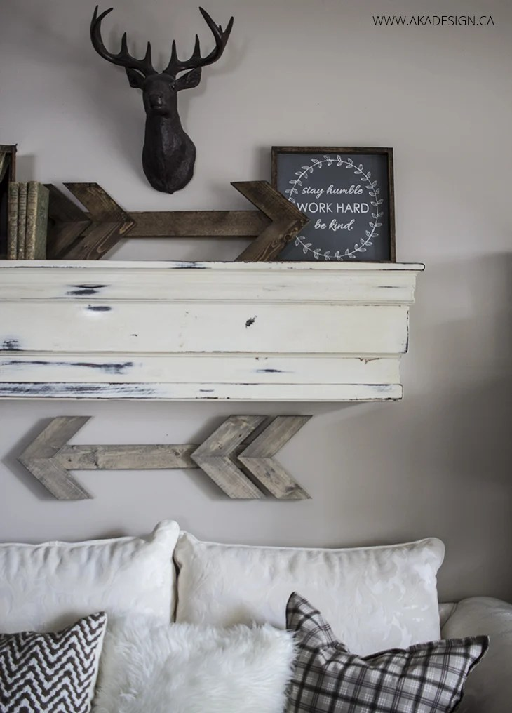 rustic neutral living room and mantel