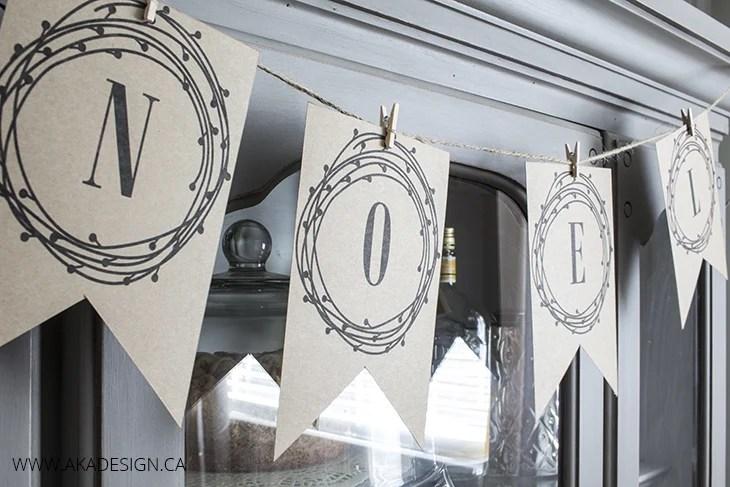 AKA Design NOEL Pennant Banner Printable