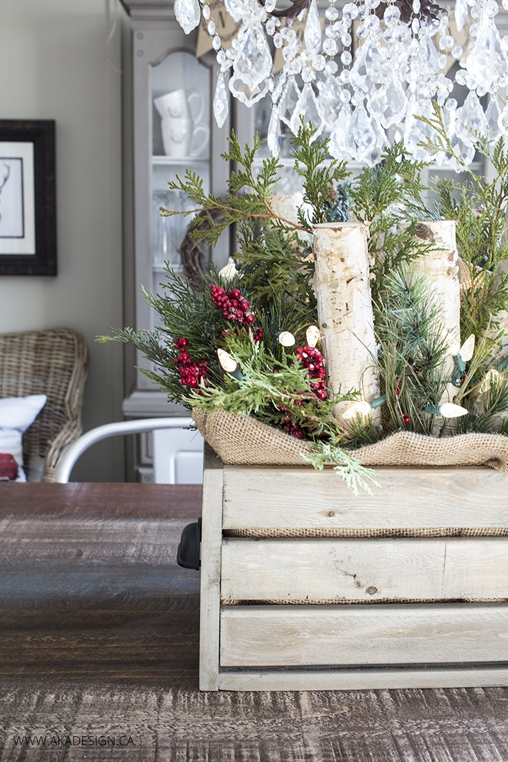 Home Made Lovely Wooden Crate with Greenery and Lights Centerpiece