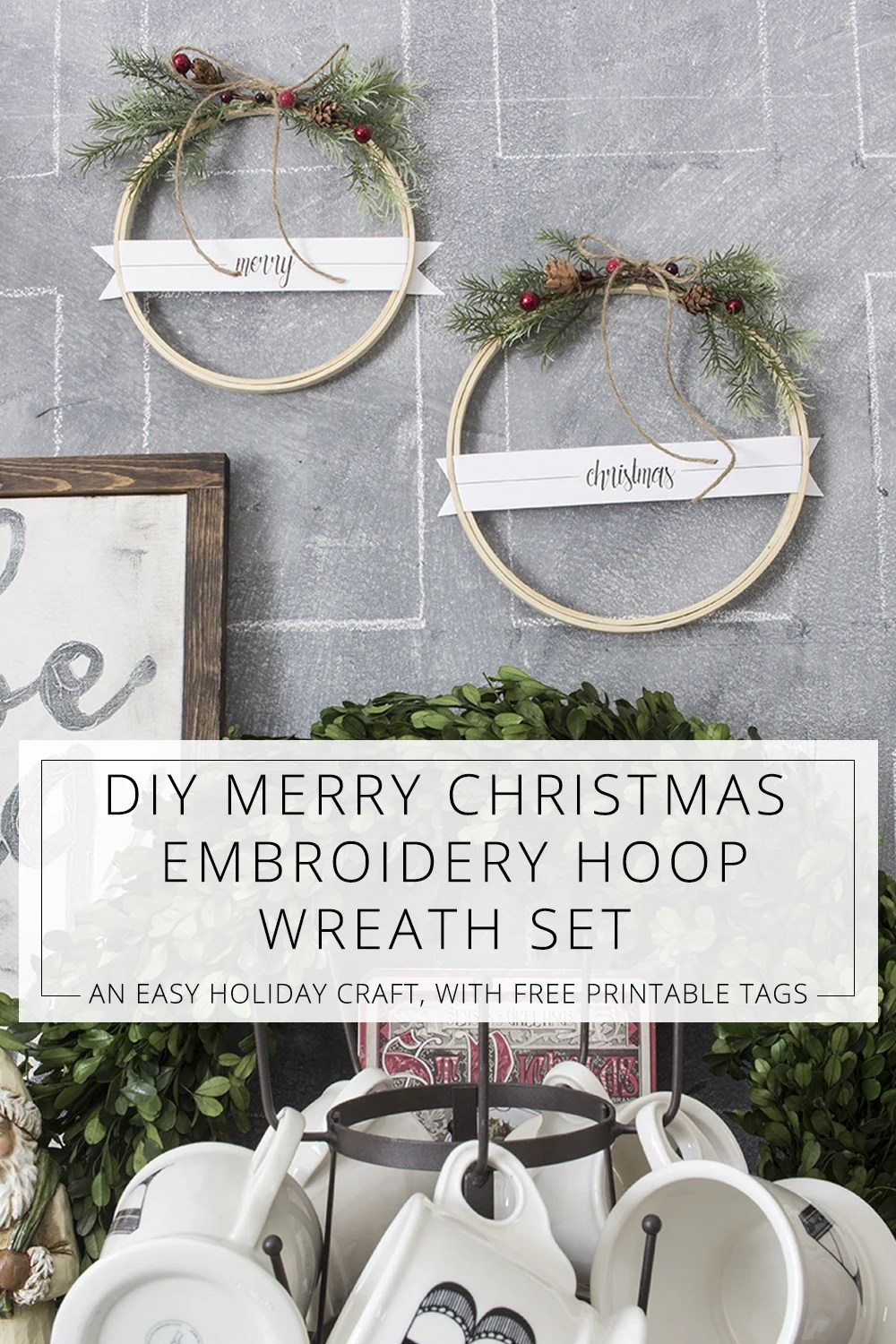 diy merry christmas embroidery hoop wreath set with free printables