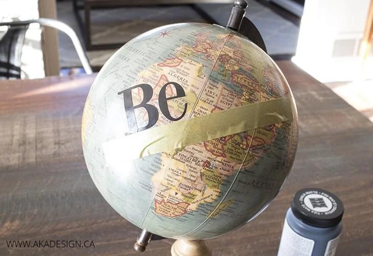 apply vinyl letters to globe
