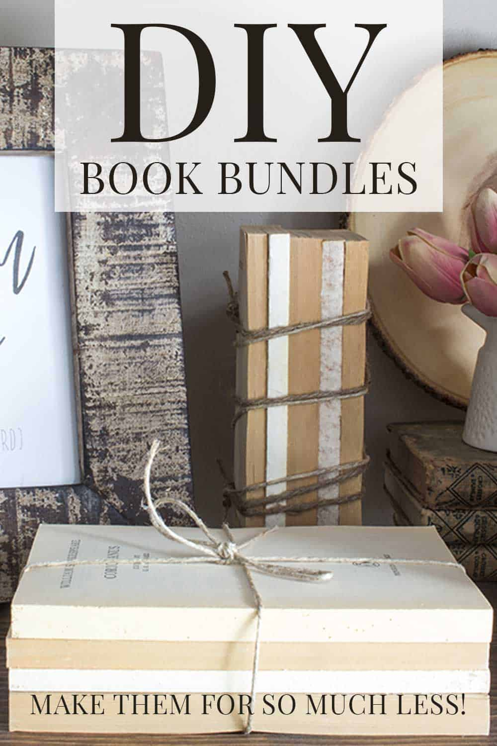 framed art print, thrifted book bundles, coverless books tied with twine