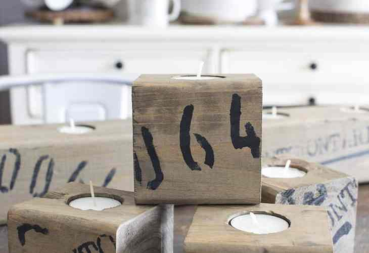 Wood Block Tea Light Holders