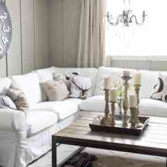 Ektorp Living Room Pc Gaming Table Sectional With White Slipcovers For The Slipcovered Oversize Clock Board And Batten Wall Chandelier Large Coffee