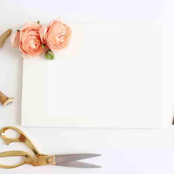 canvas, paint brush, scissors, flowers