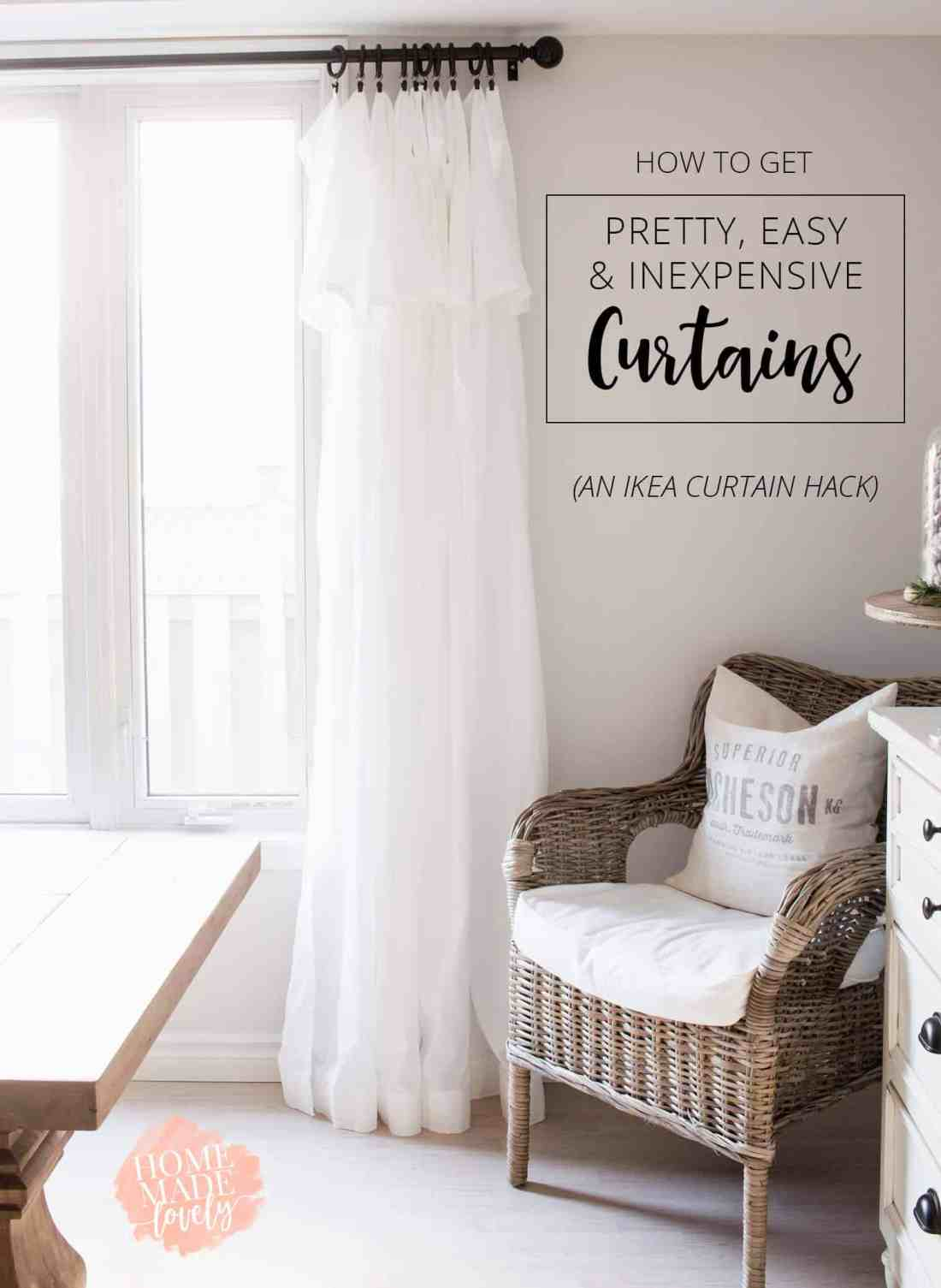Curtains are often expensive or just plain ugly! Get pretty, easy, inexpensive curtains with this simple Ikea Curtain Hack!