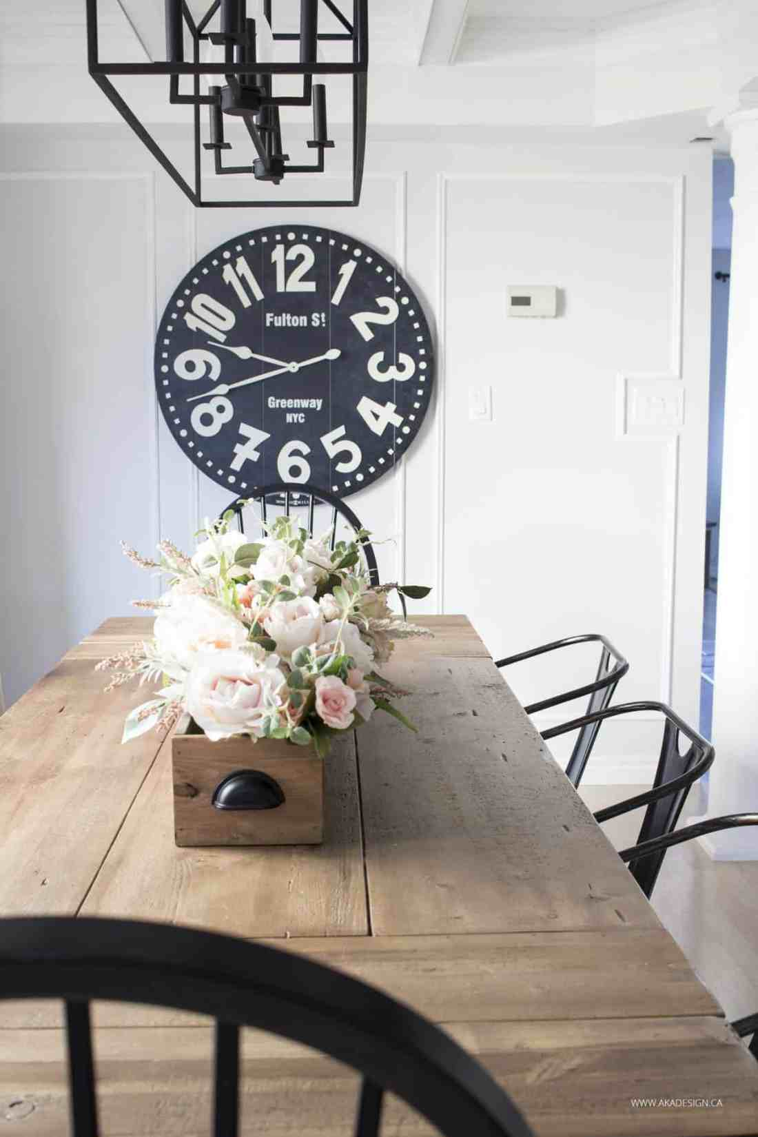 huge black wall clock dining room